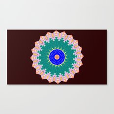 Lovely Healing Mandala  in Brilliant Colors: Brown, Pink, Sunset Orange, Teal, Cream, and Royal Blue Canvas Print