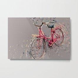 Red bicycle modern art Metal Print