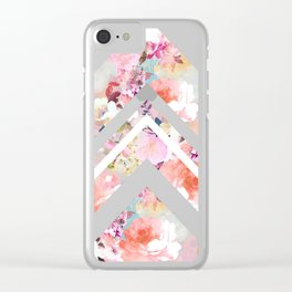Vintage floral watercolor rustic brown wood geometric triangles Clear iPhone Case