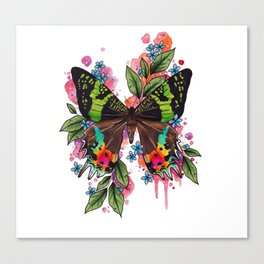 Neo Traditional Sunset Moth and flowers Canvas Print
