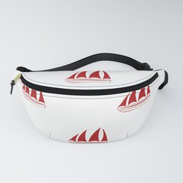 Red Sailboat Pattern Fanny Pack
