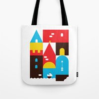 castle Tote Bags featuring Castle by koivo