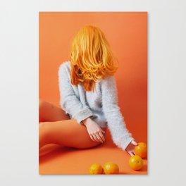 self portrait with oranges Canvas Print