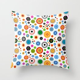 Buttons! on white Throw Pillow