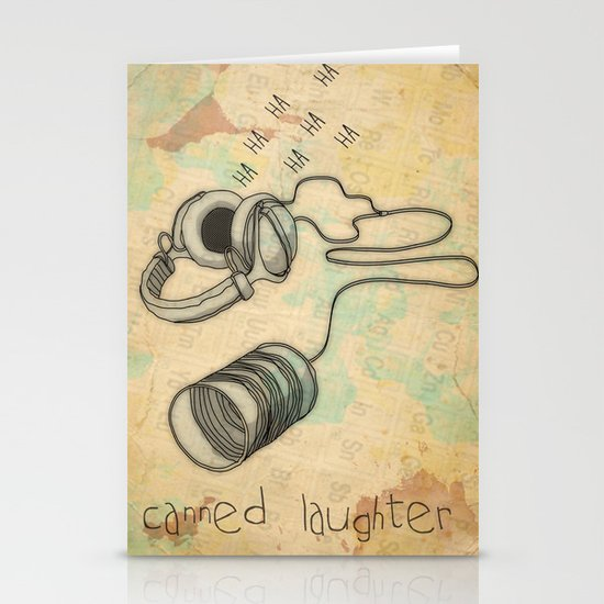 canned laughter _ head phones Stationery Cards
