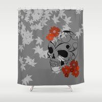 sugar skull Shower Curtains featuring Sugar Skull by Tanya Thomas