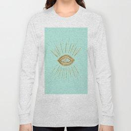 Evil Eye Gold on Mint #1 #drawing #decor #art #society6 Long Sleeve T-shirt