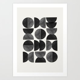 Mid Century, Retro Geometric Art Art Print