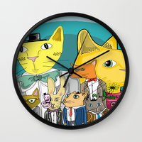 a lot of cats Wall Clocks featuring Cats on Cats on Cats by ElmWood Grove