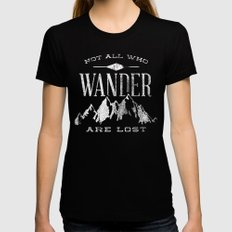 Not All who Wander are Lost Black MEDIUM Womens Fitted Tee