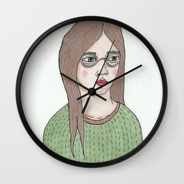 Girl with Glasses Wall Clock