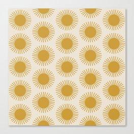 Golden Sun Pattern Canvas Print