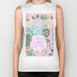 Blush pink lavender green white watercolor hand painted flowers Biker Tank