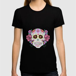 Sugar Skull with Flowers on Turquoise T-shirt