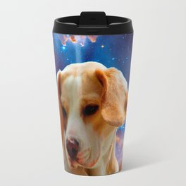 beagle puppy on the wall looking at the universe Travel Mug