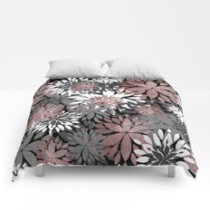 Pretty rose gold floral illustration pattern Comforters