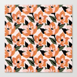 Bold orange poppy on a soft pink base Canvas Print
