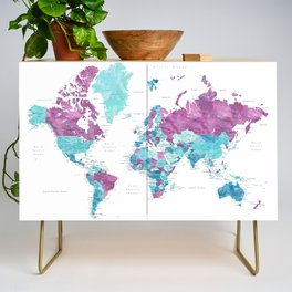 """Purple and turquoise watercolor world map with cities, """"Blair"""" Credenza"""