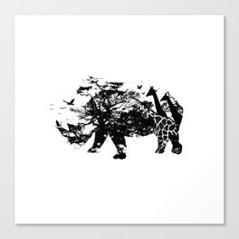 Fierce (Rhino) - Silhouette Wilderness Series Canvas Print