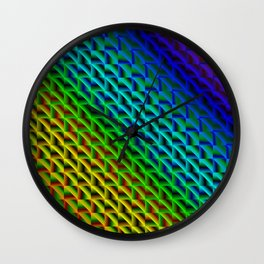 A woven saturated pattern of rainbow squares and dark rhombuses with diagonal volumetric triangles. Wall Clock