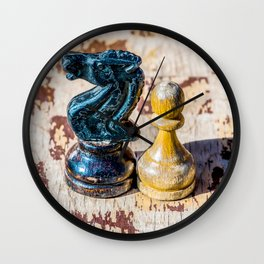 Chess Pawn and Knight - Veterans Wall Clock
