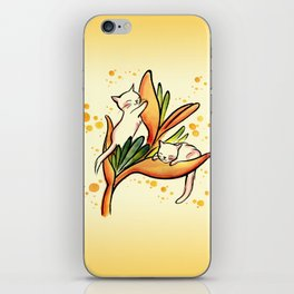 Yellow Heliconia and Cat Twins iPhone Skin