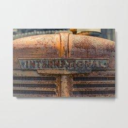 Rust Red International Bonnet Front Nameplate Rusty Tractor Metal Print