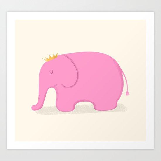 Queen Pink Elephant Art Print