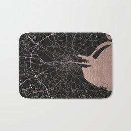 Black on Rosegold Dublin Street Map Bath Mat
