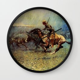 """Frederick Remington Western Art """"The Stampede"""" Wall Clock"""