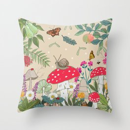 Toadstools in the Woods Throw Pillow