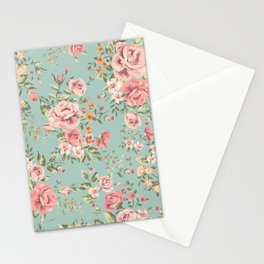Wild Roses with blue background Stationery Cards