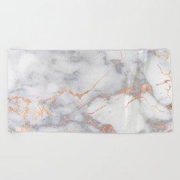 Gray Marble Rosegold  Glitter Pink Metallic Foil Style Beach Towel