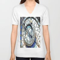 prague V-neck T-shirts featuring Prague Clock by arnedayan