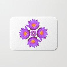 Purple Lily Flower - On White Bath Mat