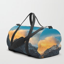 Last light on mountains before sunset Duffle Bag