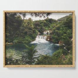 Krka National Park - waterfall Skradinski buk in Croatia Serving Tray