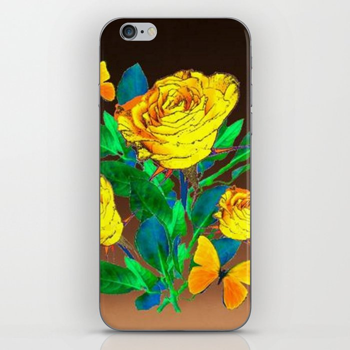 BROWN SHADES YELLOW SPRING ROSES & BUTTERFLIES iPhone Skin