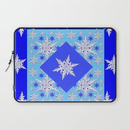 DECORATIVE BABY BLUE SNOW CRYSTALS BLUE WINTER ART Laptop Sleeve