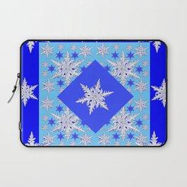 DECORATIVE BABY BLUE SNOW CRYSTALS BLUE WINTER ART Laptop Sleeve
