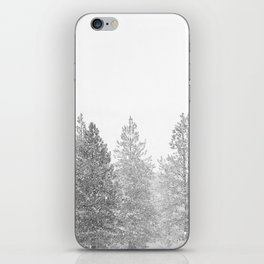 Snow Day // Black and White Winter Landscape Photography Snowing Whiteout Blizzard iPhone Skin