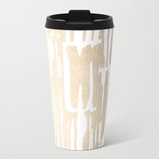 White Gold Sands Bamboo Stripes Metal Travel Mug