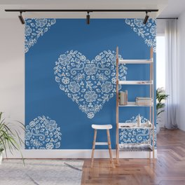 Azure Strong Blue Heart Lace Flowers Wall Mural