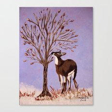 Deer by the tree Canvas Print