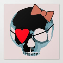 Blue skull with heart and bow Canvas Print