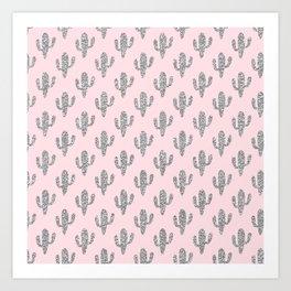 Modern blush pink faux silver glitter floral cactus Art Print