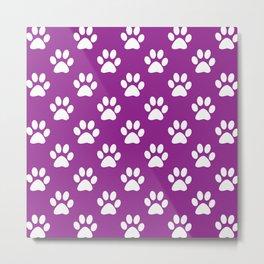 Purple and white paws pattern Metal Print