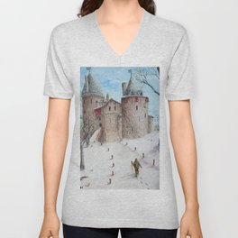 Castell Coch (Red Castle) - Winter Unisex V-Neck