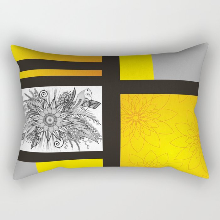 Sunflower Doodle on bright bold background Rectangular Pillow