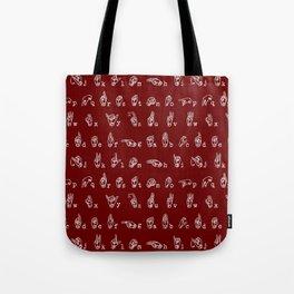 ASL Alphabet // Maroon Tote Bag